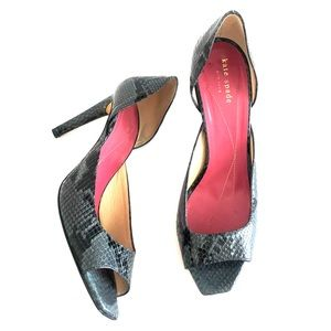 Kate Spade size 10 Snake Print green black heels